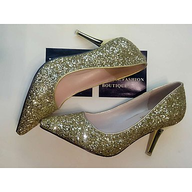 Slingback 4in Gold 2 Heels cn39 ggx Women's eu39 uk6 3 Casual silver Silver LvYuan Slingback Spring PU us8 2in q0Ox1zw