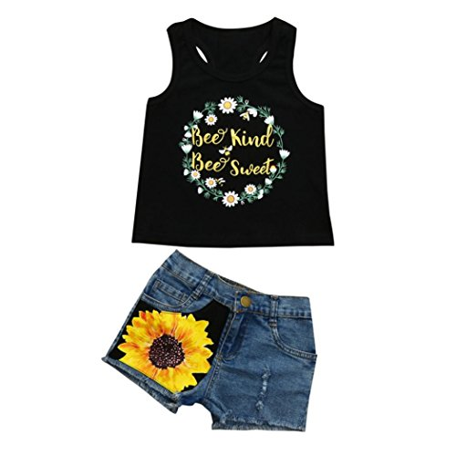 G-real Sunflower Outfits, Toddler Kids Little Girls Fashion Letter Bee Vest T-Shirt Tops+Floral Denim Shorts (Black, 18M)