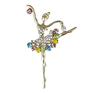 Bledyi Ladies Creative Ballet Girl Brooch Gold Brooch Girl Personality Brooch Suitable for Work/Shopping