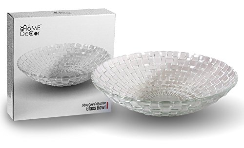 Signature Collection Decorative Glass Fruit and Salad Bowl