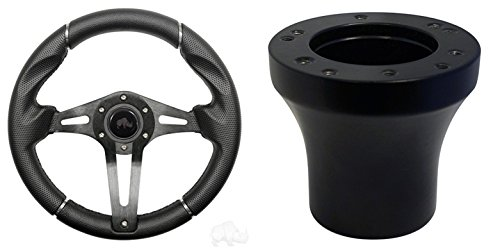 EZGO Challenger Golf Cart Steering Wheel Combo - Black Grip/Black Spokes (Ez Go Steering Wheel)