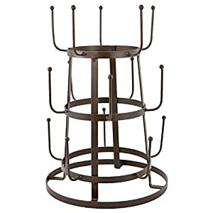 MyGift Vintage Rustic Brown Iron Mug / Cup / Glass Bottle Organizer Tree Drying Rack Stand