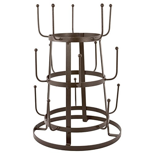 MyGift Vintage Rustic Brown Iron Mug/Cup/Glass Bottle Organizer Tree Drying Rack Stand (Wine Bottle Holder Tree)
