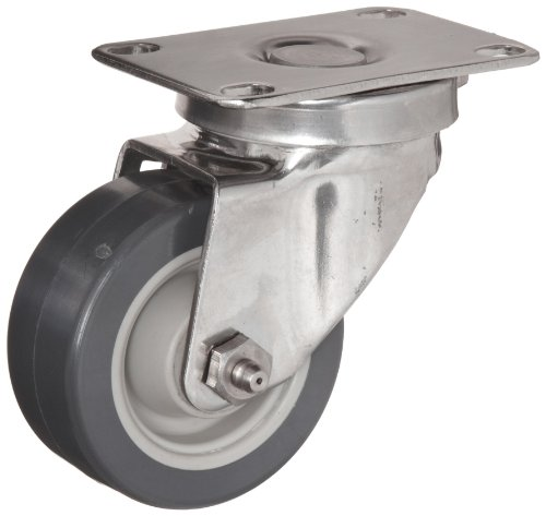 E.R. Wagner Plate Caster, Swivel, Polyurethane on Polyolefin Wheel, Stainless Steel Plate, Delrin Bearing, 200 lbs Capacity, 3'' Wheel Dia, 1-1/4'' Wheel Width, 4-1/16'' Mount Height, 3-5/8'' Plate Length, 2-3/8'' Plate Width by ER Wagner