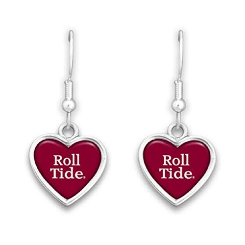 (FTH Alabama Crimson Tide Heart Slogan Earrings)