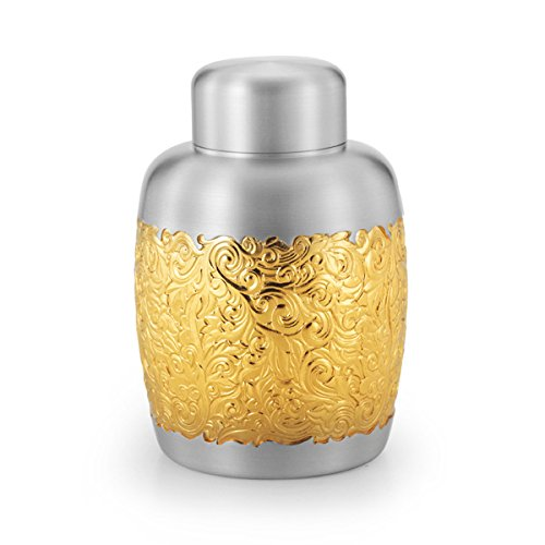 Royal Selangor Hand Finished Isthmus Collection Pewter Airtight Tea / Coffee Caddy (L) with 24K Gold Plating by Royal Selangor