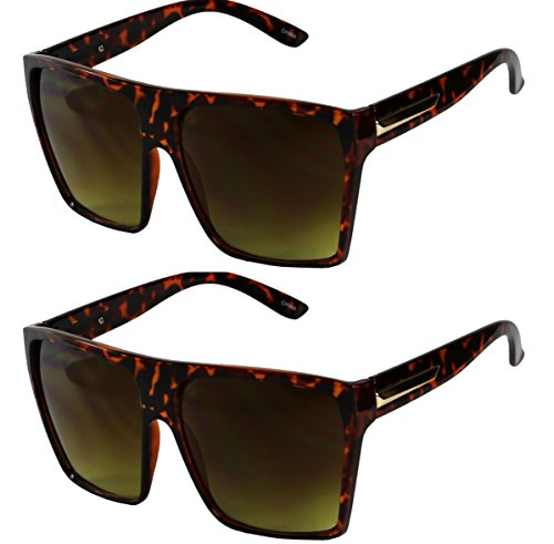- Basik Eyewear - Big XL Large Square Trapezoid Shape Oversized Fashion Sunglasses (2-PK Tortoise, Gradient Brown)