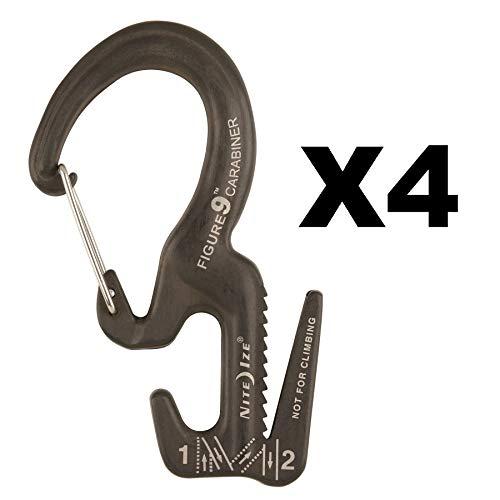 (Nite Ize Figure 9 Carabiner Small Rope Tightener Aluminum Tie Down Tool (4-Pack))