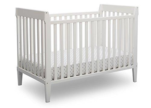 Serta Mid Century Modern Classic 5-in-1 Convertible Baby Crib, Bianca White