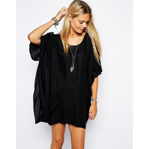 MG Collection® Black Scoopneck Flowy Loose Sleeves Beach Top / Swimsuit Cover Up