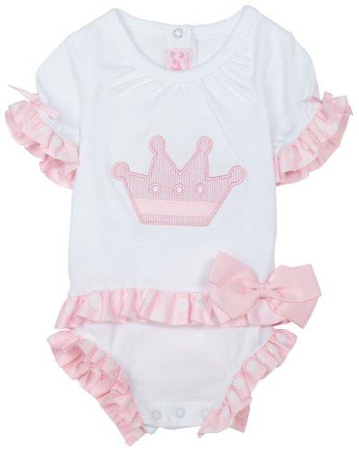 Pink Gingham Seersucker Trim (Mud Pie Baby Little Princess Cotton White and Pink Dress, Crown, 0 - 6 Months)