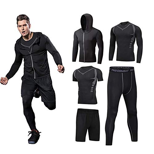 5PCS / Outfit Men's Gym Running Fitness Sportswear Kit Compression Pants Shirt Top Long Sleeve Jacket Set Black Gray