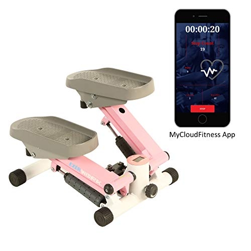 Exerpeutic EXERWORK 850 Bluetooth Smart Cloud Fitness Extended Capacity Mini Stepper with Free App and Workout Goal Setting