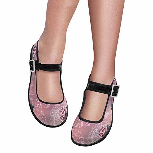 Interestprint Mujeres Comfort Mary Jane Flats Zapatos Casual Para Caminar Multi 8