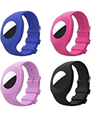 MoKo 4 Pack Wristband Compatible with AirTag 2021, Soft Adjustable Silicone Watch Strap Bracelet with Transparent Protective Case for Kids Toddler Baby Children