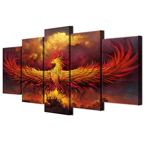 Chuixiaoxiao1 Canvas Painting of 5 Panel Pieces Canvas HD Poster Wall Art Pictures Frame Home Decor Room 5 Panel Comics Phoenix Animal Printed Painting Modern Frame (Phoenix Restaurant Furniture)
