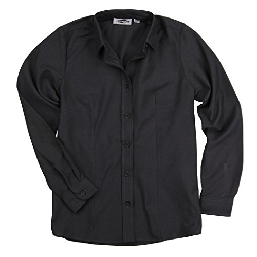 Womens Basic Long Sleeve Button Down Oxford Work Shirt Blouse (Cinder, XX-Small)