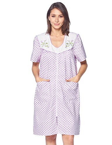 Casual Nights Women's Zipper Front House Dress Short Sleeves Duster Lounger Housecoat Robe, Dots Lilac, XX-Large ()