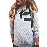 Liraly Womens Tops Clearance! New Fashion Womens Long Sleeve Lattice Button Sweatshirt Pullover Blouse Tops Casual Sweatshirt(US-4 /CN-S,Gray)