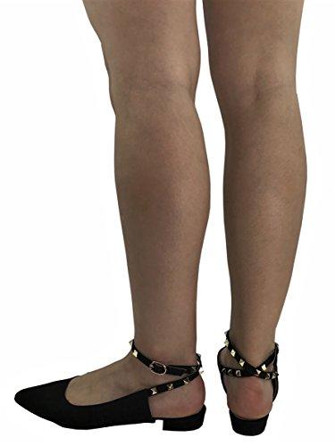 W Collection Donna Slip Toe Slip On Con Cinturino Alla Caviglia Con Tacco Basso Nero