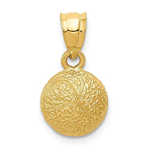 14k Yellow Gold Tennis Ball Pendant Charm Necklace Sport Tennis/racquet Man Fine Jewelry Gift For Dad Mens For -