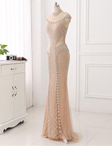Formales Abendkleid Kristall Langes Glasperlen Erosebridal Gerade Festkleid Handgefertigten Aq71O1xn