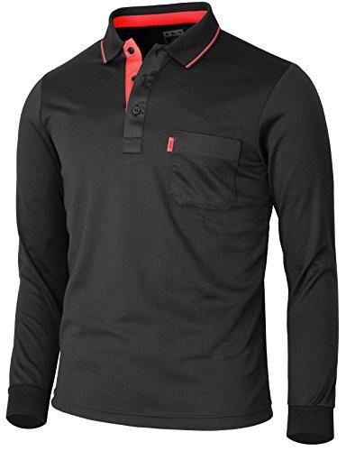 BCPOLO Men's polo shirt Long Sleeve Solid Polo Shirt Dri Fit T-Shirt-black XXL