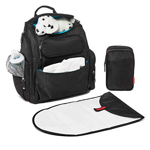 Diaper Bag Backpack by Bag Nation | Large Capacity Unisex Baby Bag with Stroller Straps, Changing Pad and Sundry Bag - Holds All Your Baby's Essentials - Black