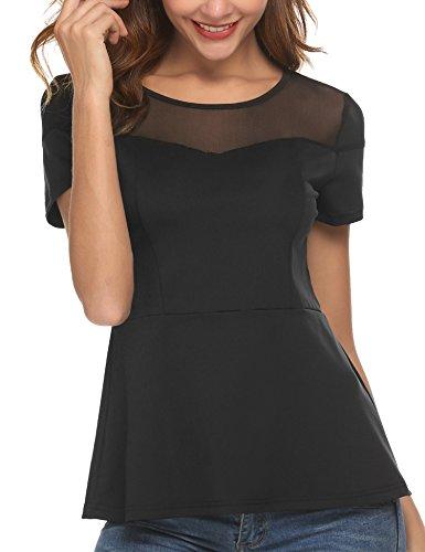 Finejo Womens Elegant Summer Short Sleeve Mesh Patchwork Empire Waist Stretchy Peplum Flare Hem Top Blouse Shirt (Waist Dress Peplum)