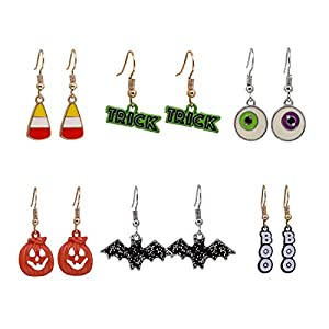 XOCARTIGE 6 Pairs Halloween Hook Earrings Set Pumpkin Bat Boo Dangle Earrings Gift Jewelry Set for Girls