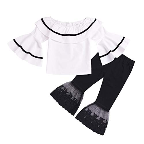 Creazrise Baby Kids Girl Off-Shoulder T-Shirt Top + Long Bell Flare Lace Pants Ruffled Short-Sleeve Outfit Clothes Set White
