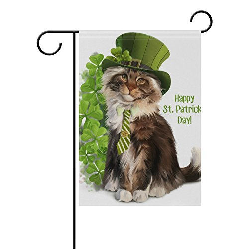 Vantaso Garden Flag Decorative St Patrick's Day Green Cat With Hat And Clovers Polyester Double Sided Printing Fade Proof for Outdoor Courtyards Garden 28×40(in) For Sale