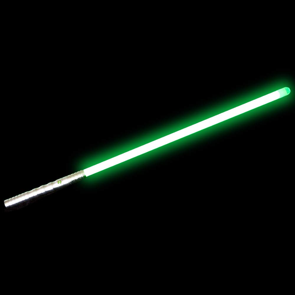 YDD Dueling Light Saber, Series Lightsaber, Realistic and Flashes,USB Charging,Detachable (Silver Hilt Green Blade)