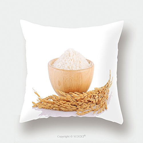 Custom Satin Pillowcase Protector Rice Plants Grains Of Thai Jasmine Rice In Wood Bowl Isolated On White Background 453873388 Pillow Case Covers Decorative by chaoran