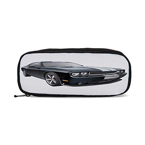 Cars,Black Modern Pony Car with White Racing Stripes Coupe Motorized Sport Dragster,9.4