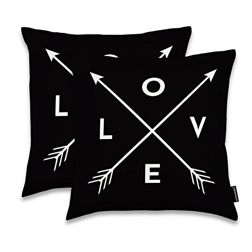 JUNHOMEDEC LOVE Arrows Throw Pillow Sham Cushion Cover Case Home Decorative Throw Pillowcase Pillow case for Sofa Couch Bed Square 18'' - (Set of 2) Zippered (YIJIE20180202-167) by JUNHOMEDEC