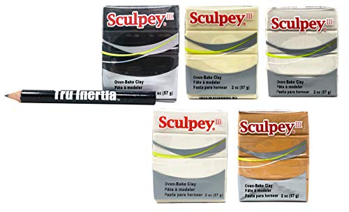 Sculpey III Oven-Bake Clay 2 Ounce Variety Pack of 5 - Glow in The Dark, White, Black, Gold, Pearl Clay Variety with Tru Inertia Pencil