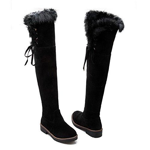AllhqFashion Damen PU Leder Überknie Hohe Stiefel Rein Ziehen auf Niedriger Absatz Stiefel Schwarz