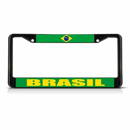 (BRASIL BRAZIL FLAG Black Metal Heavy Duty License Plate Frame Tag Border)