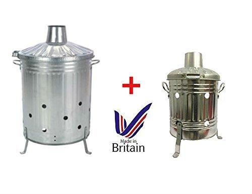 Large 90 Litre + Mini 15 Litre Incinerator Fire Bin - Ideal for Burning Paper / Leaves / Wood / Rubbish (Free Ash Poker) S&MC Gardenware