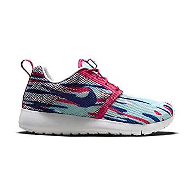 nike roshe one flight weight (GS) trainers 705486 sneakers shoes (5 Big Kid M, copa vivd pink blue pre platinum 401)