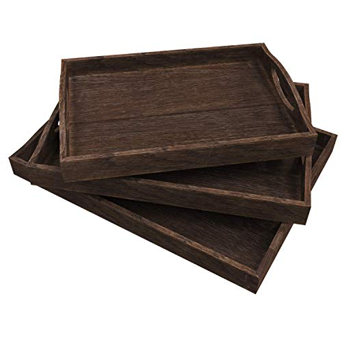 Rustic Wooden Serving Trays with Handle - Set of 3 - Large, Medium and Small - Nesting Multipurpose Trays - for Breakfast, Coffee Table/Butler & More - Light & Sturdy Paulownia Wood - Torched Brown