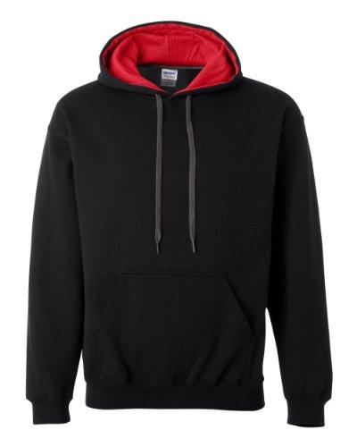 Gildan Adult Heavy BlendContrast Hooded Sweatshirt - Black/ Red - L