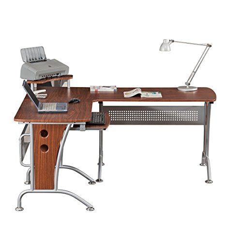 VIP Suite Ergonomic Corner L-Shaped Computer Desk Workstation – Mahogany
