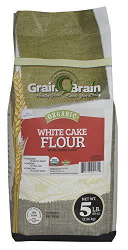 Grain Brain Organic White Cake Flour (5 lb) Pastry Flour,Unbleached, NO potassium Bromate