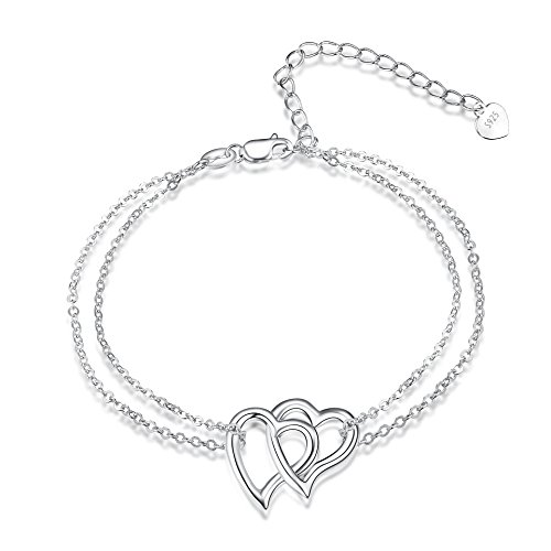POPLYKE Heart Bracelet Sterling Silver Adjustable Double Heart Link Chain Bracelets for Women Girls by POPLYKE