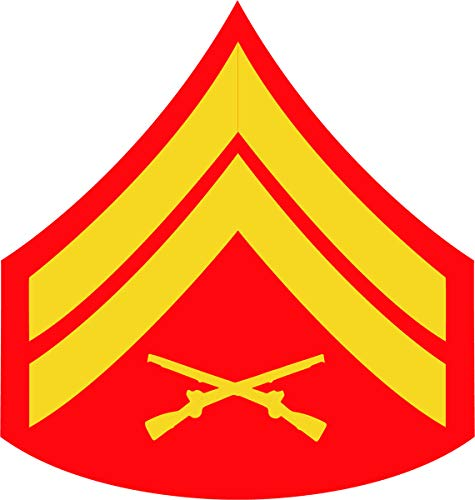 U.S. Marine Corps Gold on Red Chevron Window Decal (Corporal (Cpl)) ()
