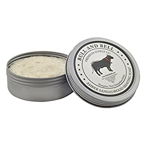 Bull and Bell Amber Sandalwood Shaving Soap - Handmade in America with All Natural Premium Quality Ingredients Including Mango Butter and Coconut Oil - 4 Ounces - Best Shave Soap for Sensitive Skin
