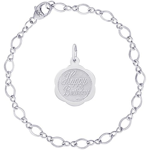 Rembrandt Charms Sterling Silver Scalloped Birthday Disc Charm on a Figure Eight Link Bracelet, 7
