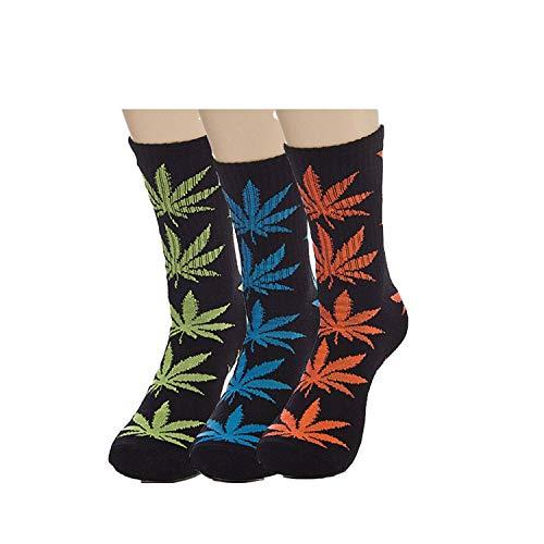 Minjie Marijuana weed Leaf Printed Cotton High Socks Men/Women sport Socks 3 Pairs(Black+Green,Black+Blue,Black+Orange)